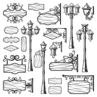 Vintage latarnie uliczne zestaw z metalowymi słupami, stare lampy szyldy i puste drewniane deski na białym tle