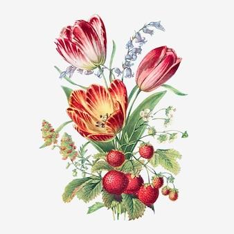Vintage letnie kwiaty bukiet wektor