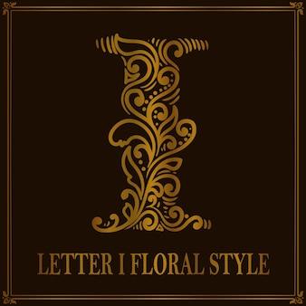 Vintage letter i kwiatowy wzór stylu