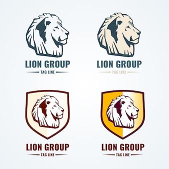 Vintage lew logo wektor zestaw. logo lwa, godło głowy lwa, ilustracja marki lwa