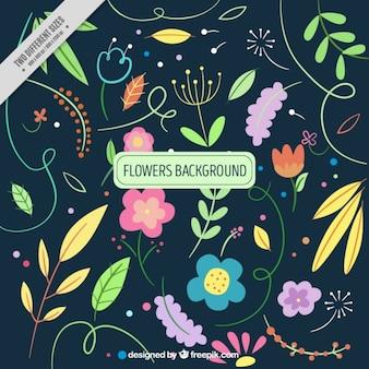Vintage liście i kwiaty w tle