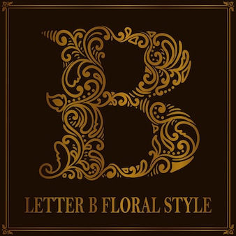 Vintage litera b kwiatowy wzór stylu