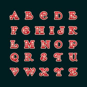 Vintage litery alfabetu bożego narodzenia