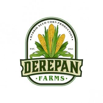 Vintage logo dla farmy kukurydzy