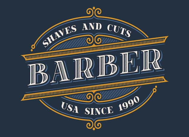 Vintage logo dla zakładów fryzjerskich na ciemnym tle. wszystkie pozycje i tekst znajdują się w osobnych grupach