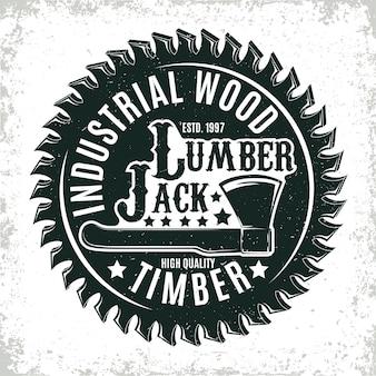 Vintage logo do obróbki drewna, pieczęć nadruku folwarcznego, kreatywny emblemat typografii stolarskiej,