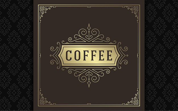 Vintage logo eleganckie kwitnie grafika liniowa wdzięczne ozdoby szablon w stylu wiktoriańskim