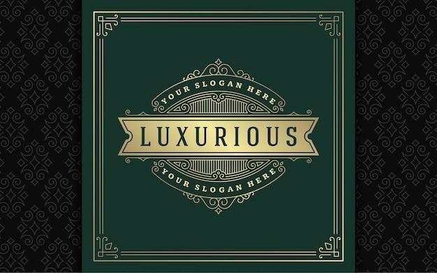 Vintage logo eleganckie kwitnie grafika liniowa wdzięczne ozdoby w stylu wiktoriańskim wektor szablon projektu