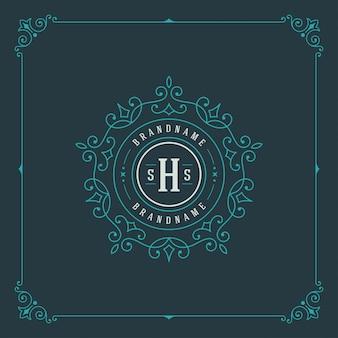 Vintage logo elegancko kwitnie ozdoby