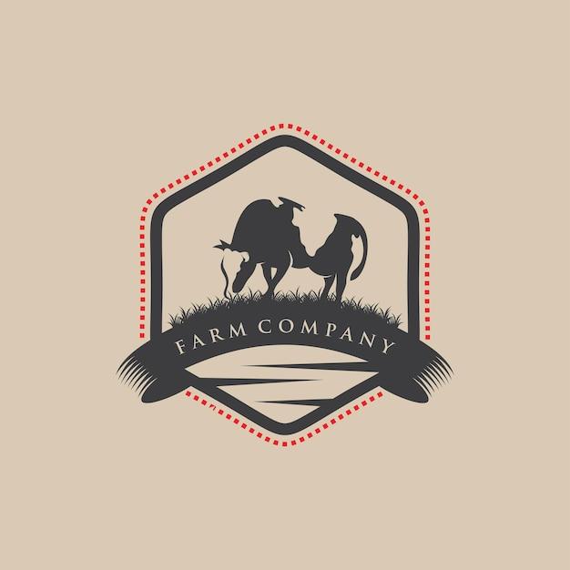 Vintage logo farmy bydła