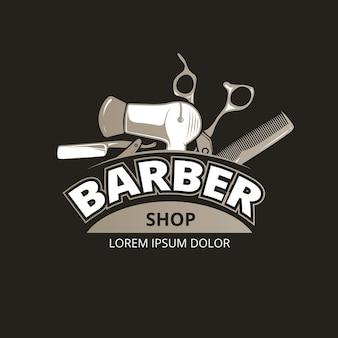 Vintage logo fryzjera. etykieta odznaki fryzjerskiej salonu, obsługa sklepu fryzjerskiego