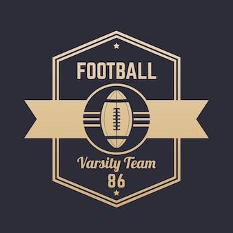 Vintage logo futbolu amerykańskiego, odznaka, godło, ilustracji wektorowych