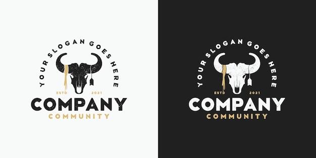 Vintage logo głowy kozy, logo społeczności, myśliwego, rancza i farmy i inne