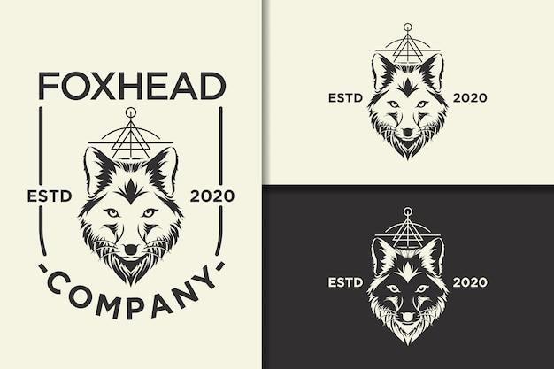 Vintage logo głowy lisa i szablon etykiety