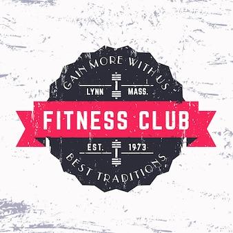 Vintage logo grunge klubu fitness, odznaka, ilustracja