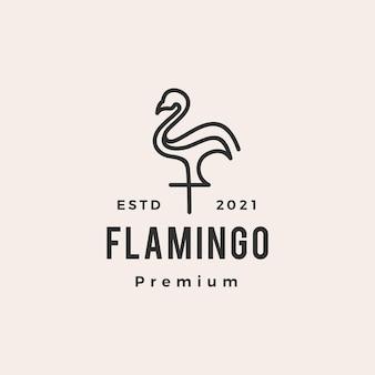 Vintage logo hipster flamingo