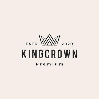 Vintage logo hipster korony króla