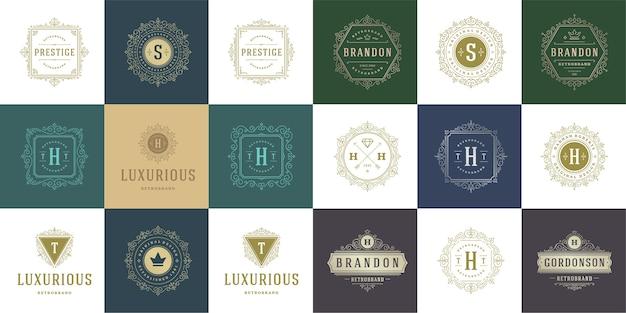 Vintage logo i monogramy ustawiają elegancką grafikę liniową