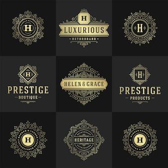 Vintage logo i monogramy zestaw eleganckich zawijasów grafik wdzięcznych ozdób projekt szablonu w stylu wiktoriańskim