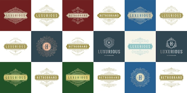 Vintage logo i monogramy zestaw eleganckich zawijasów grafik wdzięcznych ozdób szablon w stylu wiktoriańskim.
