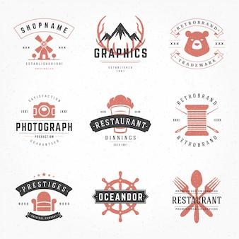 Vintage logo i odznaki typograficzne z ręcznie rysowane styl sylwetki i symbole ustawione