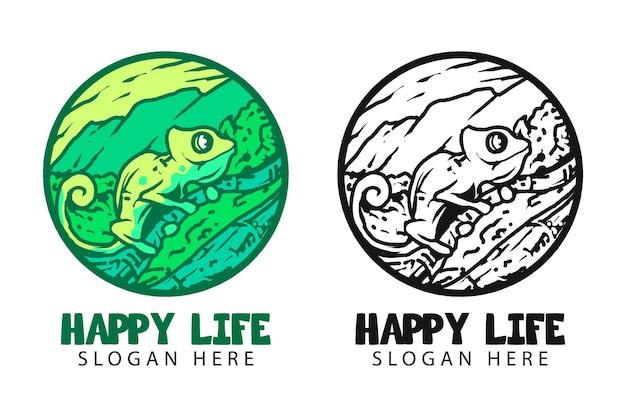 Vintage logo kameleon w ilustracji wektorowych na białym tle koło symbolu, odpowiednie dla firm i produktów pokazujących antyczne, stare wrażenie, punkt orientacyjny