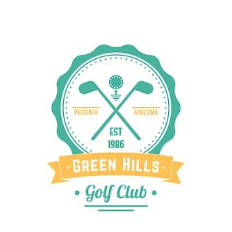 Vintage logo klubu golfowego, godło, znak klubu golfowego, skrzyżowane kije golfowe i piłka, ilustracja