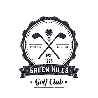 Vintage logo klubu golfowego, godło, znak, skrzyżowane kije golfowe i piłka, z grunge tekstur, ilustracji wektorowych