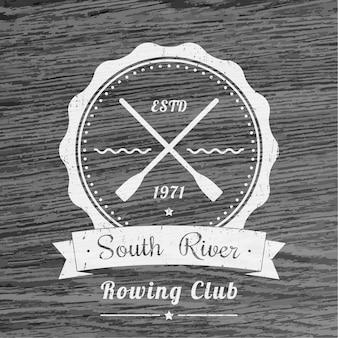 Vintage logo klubu wioślarskiego, emblemat wektor