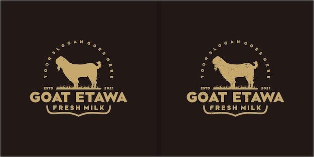 Vintage logo kozy mlecznej, logo kozie, odniesienie do logo ranczo koziego
