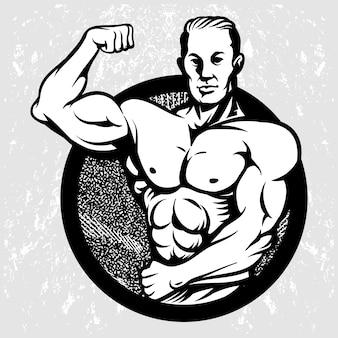 Vintage logo logo body builder mascot