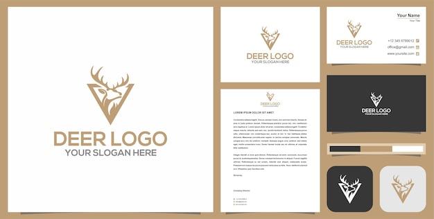 Vintage logo łowcy jeleni i wizytówki.