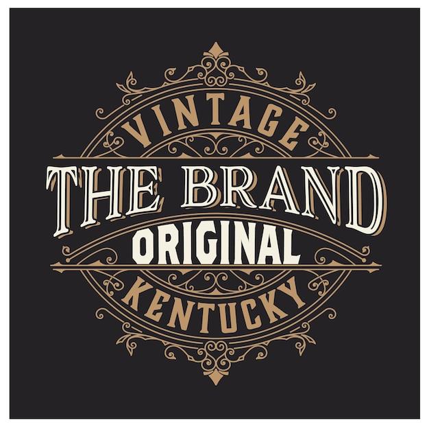 Vintage logo lub układ transparentu z ozdobnymi elementami