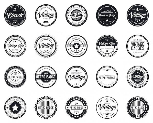 Vintage logo mega pack dla koszulki i sklepu.