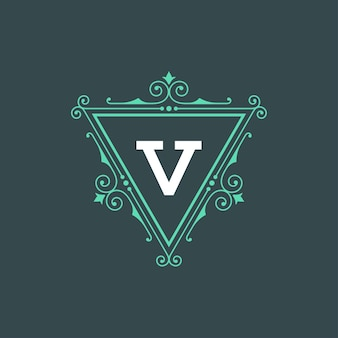 Vintage logo monogram szablon eleganckie ozdoby ozdoby z ozdobnym obramowaniem ramki