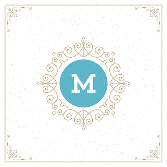 Vintage logo monogram szablon, złote eleganckie ozdoby ozdoby z ozdobną ramką ramki