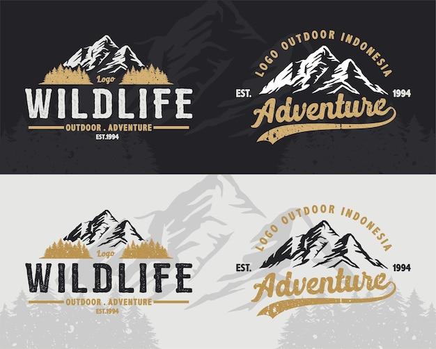 Vintage logo mountain na naklejkę na koszulę przygoda na świeżym powietrzu
