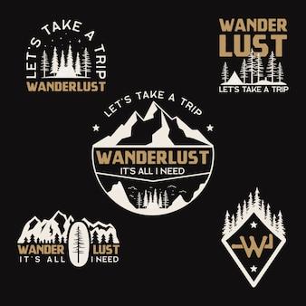 Vintage logo obozu, zestaw odznak górskich. ręcznie rysowane wzory etykiet. wyprawa w podróż, wanderlust i backpacking. herby piesze wycieczki na świeżym powietrzu. kolekcja logotypów. zbiory