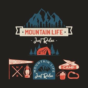Vintage logo obozu, zestaw odznak górskich. ręcznie rysowane wzory etykiet. wyprawa w podróż, wędrówki i wędrówki. mountain life just relax outdoor herby. kolekcja logotypów. zbiory