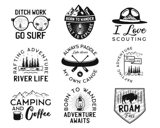 Vintage logo obozu, zestaw odznak górskich.