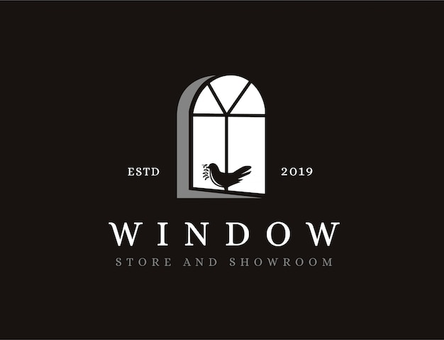 Vintage logo okna i ptak