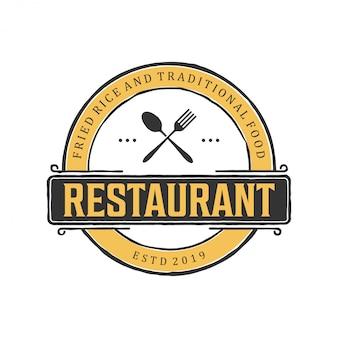 Vintage logo projektu dla restauracji