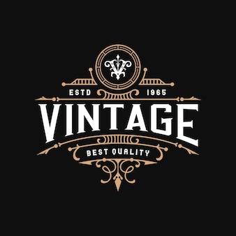 Vintage logo projektu ozdobnych ramek
