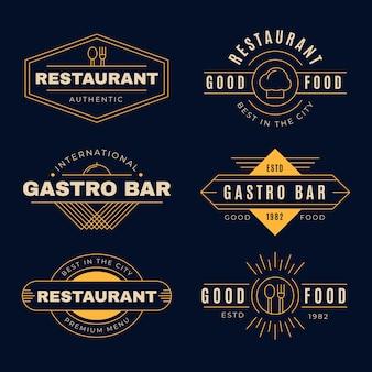 Vintage logo restauracji ze złotym wzorem