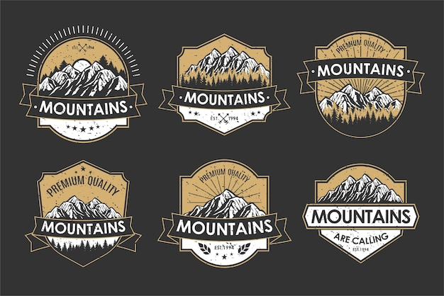 Vintage logo retro odznaka zestaw przygoda i etykieta ikony górskiej na zewnątrz