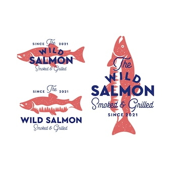 Vintage logo ryby łososia z wieloma koncepcjami