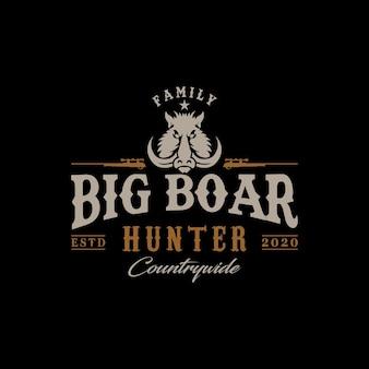 Vintage logo społeczności boar hunter hunter