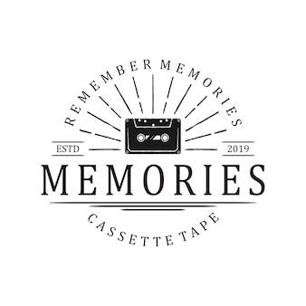 Vintage logo starej kasety magnetofonowej. studio nagrań dźwiękowych