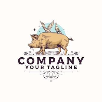 Vintage logo świnia