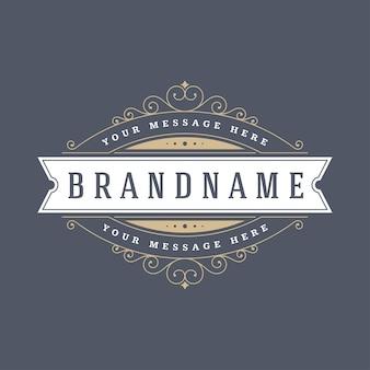 Vintage logo szablon eleganckie ozdoby ozdoby ilustracja